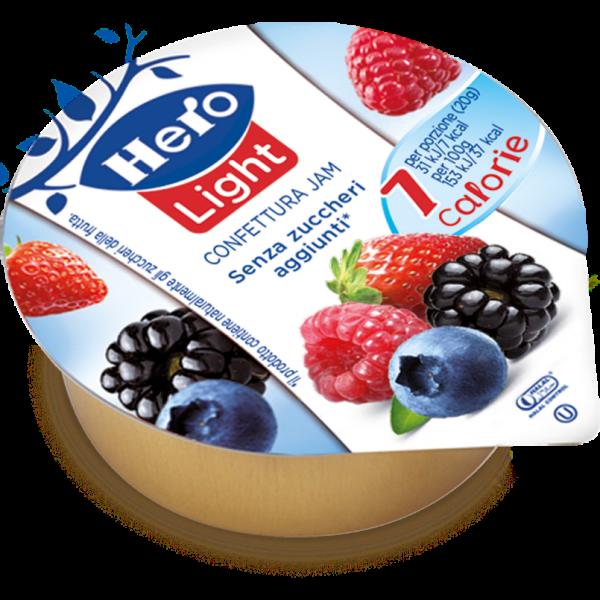 Hero Confetture Light Frutti di Bosco in monodose da 20g, 120 pezzi 4x30 astucci .